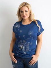 Granatowy t-shirt damski z nadrukiem PLUS SIZE