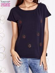 Granatowy t-shirt z aplikacją owadów