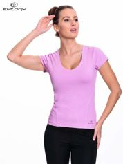 Jasnofioletowy damski t-shirt sportowy z dekoltem U