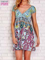 Jasnoniebieska sukienka kwiatowa odcinana pod biustem