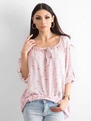 Jasnoróżowa bluzka z nadrukiem flamingów i podwijanymi rękawami