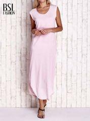 Jasnoróżowa długa sukienka acid wash