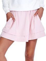 Jasnoróżowa dresowa spódnica z kieszeniami
