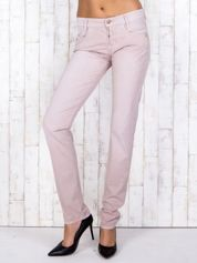 Jasnoróżowe materiałowe spodnie regular na guziki