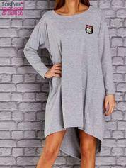 Jasnoszara asymetryczna sukienka z naszywką i troczkami