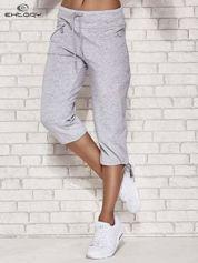 Jasnoszare spodnie dresowe capri z kieszonką