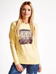 Jasnożółta bluza z napisem FOREVER YOUNG