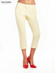Jasnożółte eleganckie spodnie za kolano