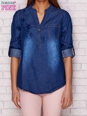 Jeansowa koszula z haftowaną aplikacją ciemnoniebieska