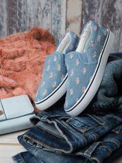 Jeansowe buty slip on z efektem cut out