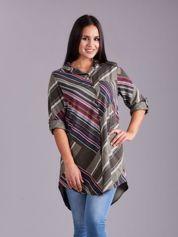 Khaki długa koszula damska
