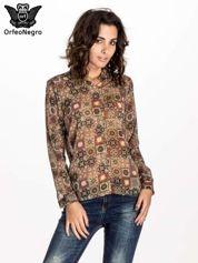 Khaki koszula w kwiatowe ornamenty
