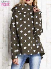 Khaki ocieplana bluza w gwiazdki