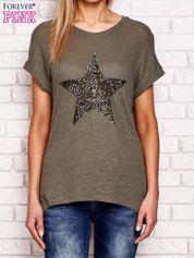 Khaki t-shirt z cekinową gwiazdą