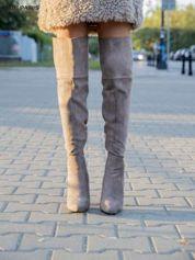 Khaki zamszowe kozaki na szpilkach za kolano