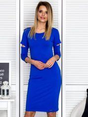 Kobaltowa sukienka z wycięciami cut out