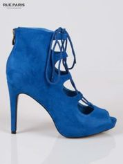Kobaltowe sznurowane botki lace up open toe z zamkiem