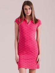 Koralowa sukienka polo w serduszka