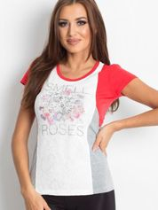Koralowy t-shirt z napisem SMELL ROSES