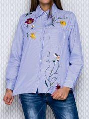 Koszula w niebieskie paski z ozdobnym haftem