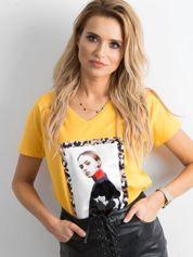 Koszulka z nadrukiem żółta