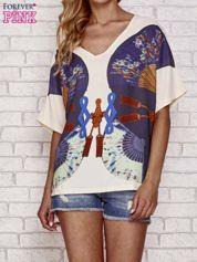 Kremowy t-shirt z nadrukiem orientalnym