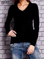 LIU JO Czarny sweter z trójkątnym dekoltem