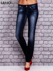 LIU JO Granatowe spodnie jeansowe z przetarciami