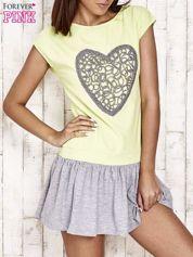 Limonkowa dresowa sukienka tenisowa z sercem