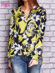 Limonkowa koszula z motywem kwiatowym