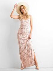 Łososiowa sukienka maxi na ramiączkach w łączkę