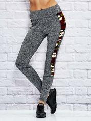 Melanżowe legginsy z moro wstawkami i przeszyciami brzoskwiniowe