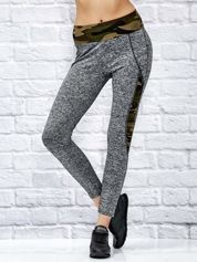 Melanżowe legginsy z moro wstawkami szare