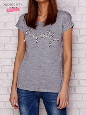 Melanżowy t-shirt z napisem MYSELF szary