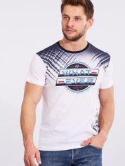 Męski bawełniany t-shirt z printem biały
