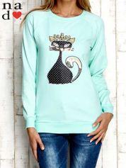Miętowa bluza z cekinowym kotem