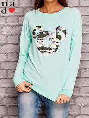 Miętowa bluza z nadrukiem moro