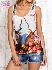 Miętowa bluzka koszulowa z nadrukiem antylopy