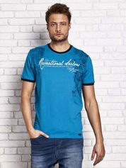 Morski t-shirt męski z miejskim nadrukiem