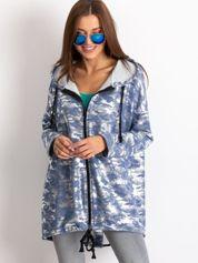 Niebieska błyszcząca bluza z kapturem