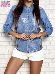 Niebieska jeansowa koszula z cekinami