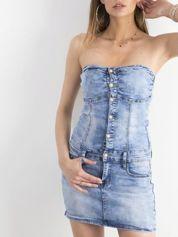 Niebieska jeansowa sukienka bandage