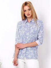 Niebieska koszula w paski z motywem roślinnym