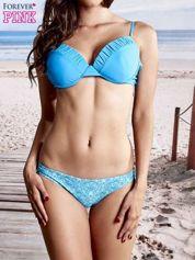 Niebieski usztywniany stanik od bikini wiązany na kokardę