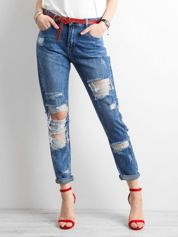 Niebieskie jeansy mom fit z dziurami
