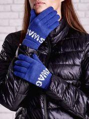 Niebieskie rękawiczki SWAG na pięć palców z wywijanym ściągaczem