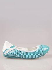 Niebieskie siateczkowe baleriny na gumkę