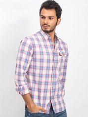 Niebiesko-różowa koszula męska Western