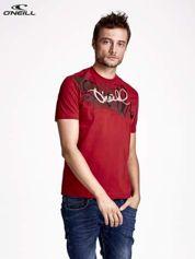 O'NEILL Czerwony t-shirt męski  z nadrukiem