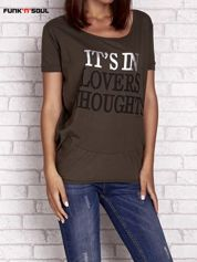Oliwkowy t-shirt z napisem IT'S IN LOVERS THOUGHTS Funk n Soul